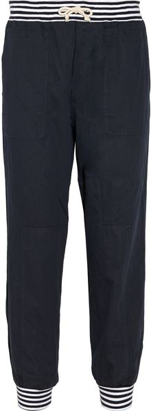 Band Of Outsiders Patchwork Cotton Blend Drawstring Pants - Lyst