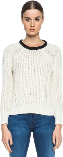 Band Of Outsiders Cable Knit Raglan Sweater - Lyst