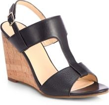 Cole Haan Adrienne Leather Cork Wedge Sandals - Lyst
