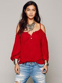 Free People Open Shoulder Cross Back Tunic - Lyst