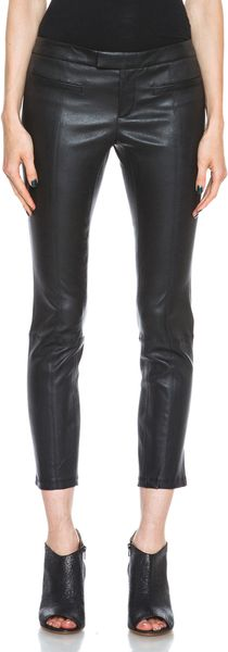 Helmut Lang Stretch Plonge Cropped Leather Pant - Lyst