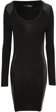 Jane Norman Pu Panel Knitted Bodycon Dress - Lyst