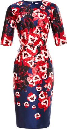 Prabal Gurung Fitted Floral Print Satin Dress - Lyst