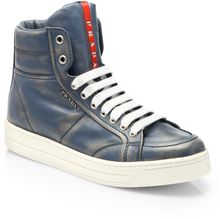 Prada Leather Lace Up High Top Sneakers - Lyst