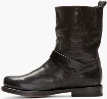 Rag & Bone Black Leather Textured Biker Boots - Lyst