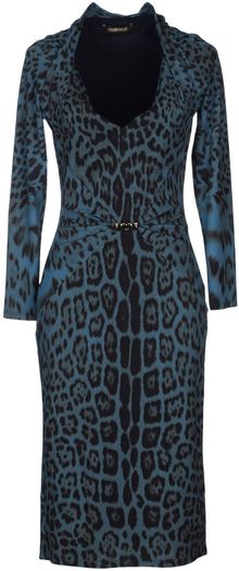 Roberto Cavalli Kneelength Animal Print Blue Dress - Lyst