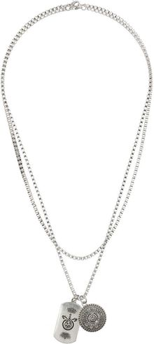 Topman Dog Tag and Coin Multi Row Necklace - Lyst