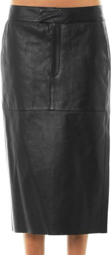 Helmut Lang Leather Midi Skirt - Lyst