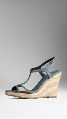 Burberry House Check Bridle Leather Espadrille Wedges - Lyst