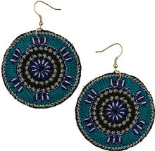 Topshop Embroidered Disc Earrings - Lyst