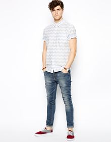 Asos Wave Print Shirt in Short Sleeve - Lyst