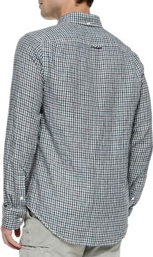 Vince Check Buttondown Linen Shirt Teal - Lyst