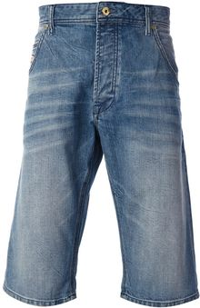 Diesel Washed Denim Shorts - Lyst