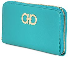 Ferragamo Saffiano Leather Zip Around Wallet - Lyst