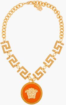 Versace Gold and Orange Pendant Necklace - Lyst