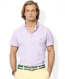 Ralph Lauren Polo Customfit Shortsleeve Chambray Sport Shirt - Lyst