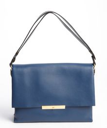 Celine Navy Leather Gold Accent Shoulder Bag - Lyst