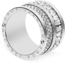Michael Kors Silvertone Pave and Baguette Crystal Barrel Ring - Lyst