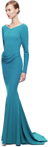 Zac Posen Satin Back Crepe Gown - Lyst