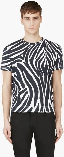 Versus  Deep Blue and White Zebra Print T_shirt - Lyst