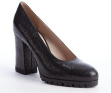Miu Miu Black Cracked Leather Pumps - Lyst