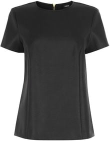 Oasis Faux Leather Seamed Tshirt - Lyst