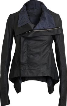 Rick Owens Asymmetric Leather and Virgin Wool Jacket - Lyst