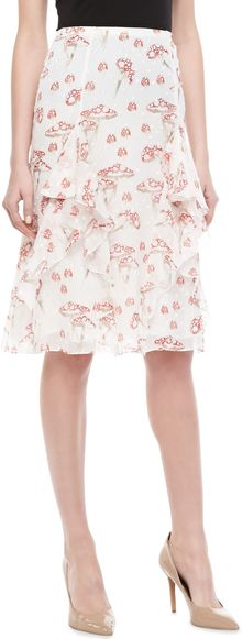 Carolina Herrera Mushroomprint Chiffon Skirt - Lyst