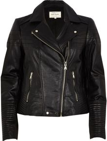 River Island Black Quilted Leather Biker Jacket - Lyst