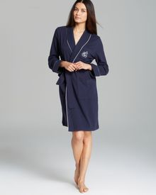 Ralph Lauren  Essentials Short Shawl Collar Robe with Quilted Collar and Cuffs - Lyst