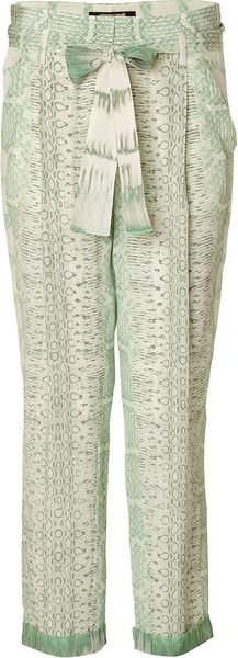 Roberto Cavalli Silk Printed Pants in Mint - Lyst