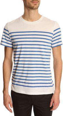 A.P.C. Ecru and Blue Striped Tshirt - Lyst