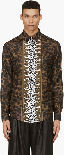 Versus  Brown and Black Silk Animal Print Shirt - Lyst