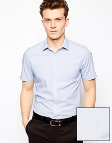 Asos Smart Shirt in Short Sleeve with Pin Stripe - Lyst