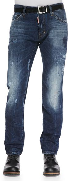 DSquared2 Distressed Washed Denim Jeans Blue - Lyst