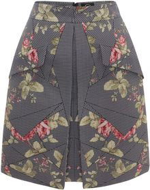 McQ by Alexander McQueen Kaleidoscope Rose Pleat Skirt - Lyst