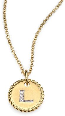 David Yurman 18k Yellow Gold Initial Pendant Necklacel - Lyst