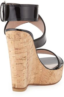 Stuart Weitzman Xray Patent Cork Wedge Black Made To Order - Lyst