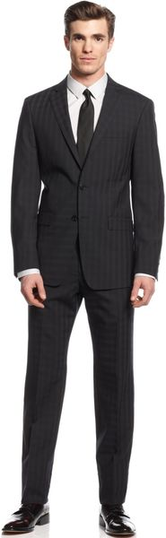 Calvin Klein Black Check Slim X Fit Suit - Lyst