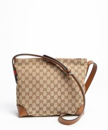 Gucci Beige and Brown Gg Canvas Shoulder Bag - Lyst