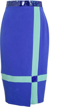 Roksanda Ilincic Colourblocked Silk Pencil Skirt - Lyst