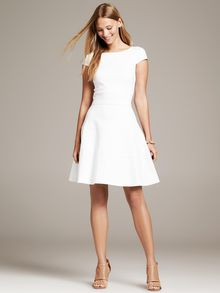 Banana Republic Seamed Fit and Flare Dress White - Lyst