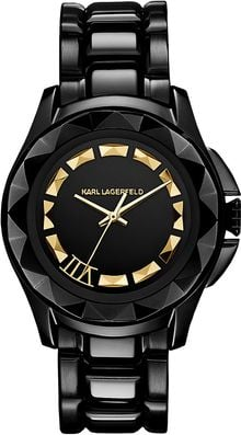 Karl Lagerfeld Black Pyramid Stud Goldtone Watch - Lyst