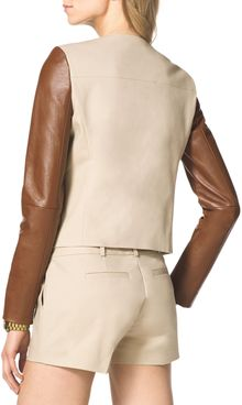 Michael by Michael Kors Leathersleeve Twill Jacket - Lyst