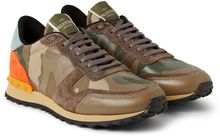 Valentino Camouflage-printed Leather and Canvas Sneakers - Lyst