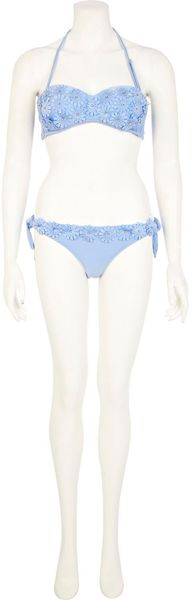 River Island Light Blue 3d Flower Tie Side Bikini Bottoms - Lyst