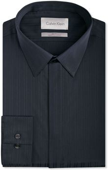 Calvin Klein Platinum Charcoal Tonal Texture Dress Shirt - Lyst
