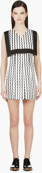 Opening Ceremony Black and White Wave Floating Bib Dress - Lyst