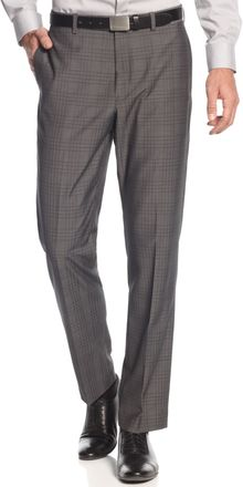 Calvin Klein Light Grey Shark Skin Window Pane Dress Pants Slim Fit - Lyst