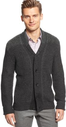 Calvin Klein Marl Blocked Shawl Collar Cardigan Sweater Macys Exclusive - Lyst